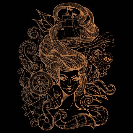 Girl with long hair gold contour drawing on a black background. Portrait of a young woman. Face and make-up. Fabulous sea princess. Mermaid. Design for tattoos, stickers, t-shirt. Иллюстрация