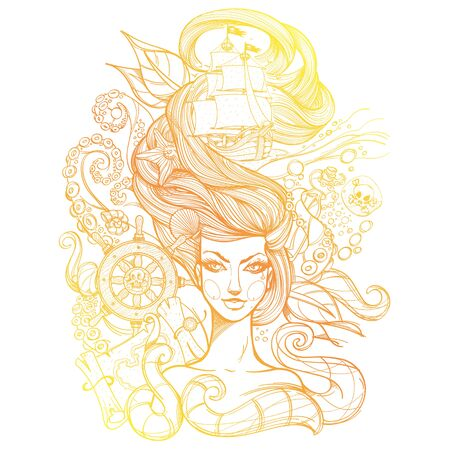 Girl with long hair yellow-orange outline drawing on a white background. Portrait of a young woman. Face and make-up. Fabulous sea princess. Mermaid. Design for tattoos, stickers, t-shirt.