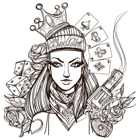 Girl death outline illustration for coloring. Portrait of a Bandit woman for t-shirt design or print.