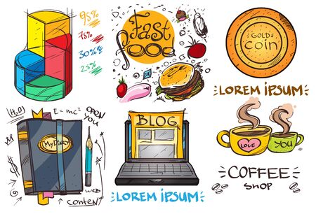 Set of social icons in hand-drawn drawing style. Sketch of various goods and objects. Elements for infographics. Иллюстрация