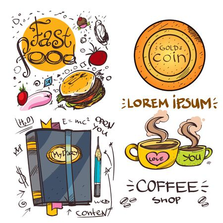 Set of social icons in hand-drawn drawing style. Sketch of various goods and objects. Elements for infographics. Illustration