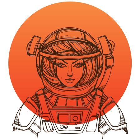 Girl in a spacesuit for t-shirt design or print. Woman astronaut. Cosmic Beauty. Martian, alien outline illustration on orange background round.