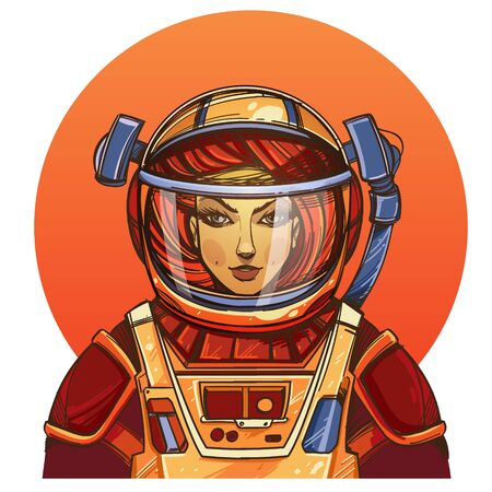 Girl in a spacesuit for t-shirt design or print. Woman astronaut. Cosmic Beauty. Martian, alien illustration on orange background round.