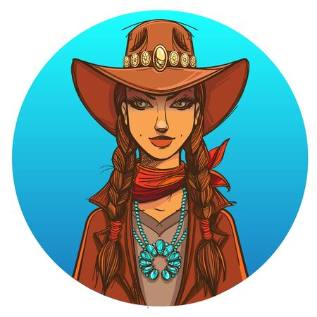 Girl in a cowboy hat. Portrait of a beautiful woman. Country style for t-shirt design or print.