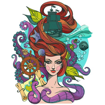 Girl with long hair. Portrait of a young woman. Face and make-up. Fabulous sea princess. Mermaid. Illustration for a tattoo, sticker, design, t-shirts and other items.