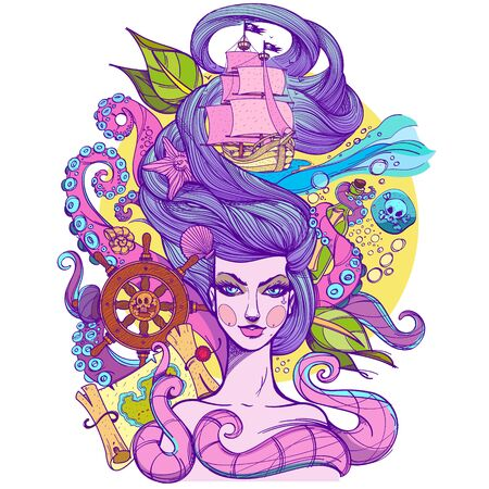 Girl with long hair illustration in acid colors. Portrait of a young woman. Face and make-up. Fabulous sea princess. Mermaid. Sketch of tattoo stickers, design T-shirts and other items.