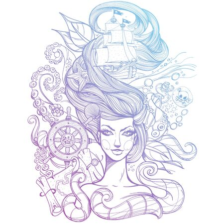 Girl with long hair outline sketch. Portrait of a young woman. Face and make-up. Fabulous sea princess. Mermaid. Monochrome illustration for tattoos, stickers, t-shirt and other items. Иллюстрация