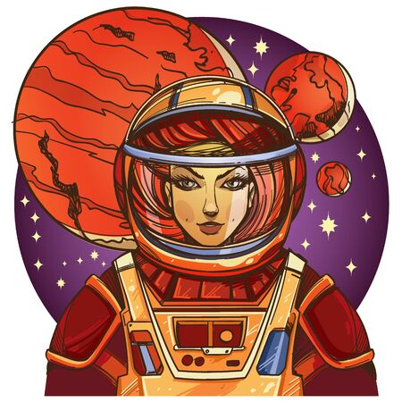 Girl in a spacesuit for t-shirt design or print. Woman astronaut. Cosmic Beauty. Martian, alien illustration.