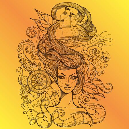Girl with long hair outline drawing on a yellow background. Portrait of a young woman. Fabulous sea princess. Mermaid. Design for tattoos, stickers, t-shirt and other items. Иллюстрация