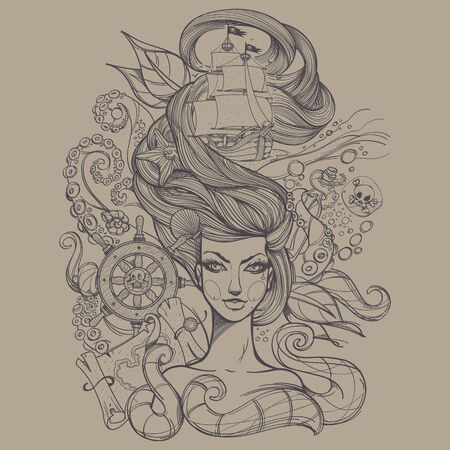 Girl with long hair gray contour drawing on a light background. Portrait of a young woman. Face and make-up. Fabulous sea princess. Mermaid. Design for tattoos, stickers, t-shirt.