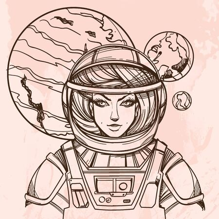 Girl in a spacesuit for t-shirt design or print. Woman astronaut. Cosmic Beauty. Martian, alien outline illustration on grunge background. Иллюстрация