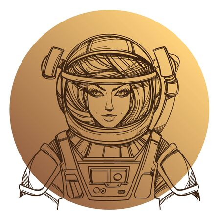 Girl in a spacesuit for t-shirt design or print. Woman astronaut. Cosmic Beauty. Martian, alien outline illustration on a beige background of the circle.