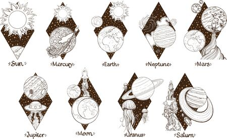 Planets of the solar system illustration. Planets and satellites. Astronomy.