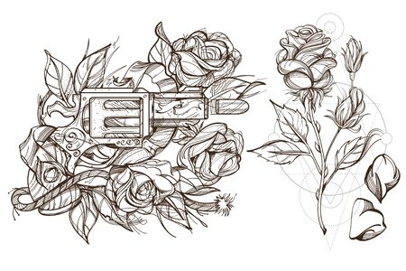 Roses and a gun. A set of outline illustrations with sketches of tattoos.