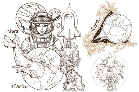 Space. A set of outline illustrations with sketches of tattoos. 矢量图像