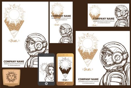 A set of corporate style template in the space style.