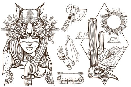 Woman with a mask of a fox. Beautiful girl in a hat in the form of a fox head. Contour illustration for tattoos and dazain clothes, posters, fashion shows. 矢量图像