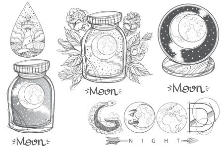 Moon in a glass jar. Beautiful inscription: Good night. A set of outline illustrations with sketches of tattoos.