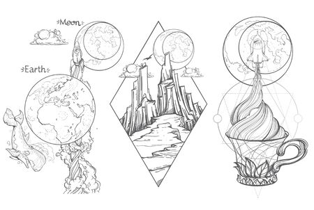 A sketch for the painting with the spacecraft and mug of coffee, tea or hot chocolate. Surrealistic illustration on the space theme design for t-shirts and various items and gifts.
