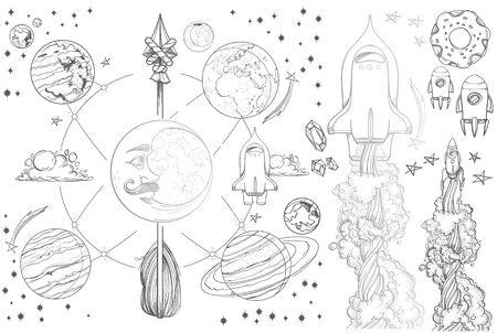 Planets of the solar system illustration vintage.