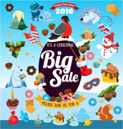 Christmas big sale with icons