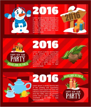 Happy New Year party invitations in cartoon style