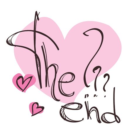 The inscription The End and the pink heart are a sketch