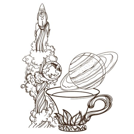A sketch for the painting with the spacecraft, a mug of tea and the planet Saturn. Surrealistic illustration on the space theme design for t-shirts and various items and gifts