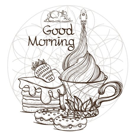 Motivating illustration with the phrase: Good morning. Outline sketch for the painting with a mug of coffee and a slice of cake and a space rocket 矢量图像