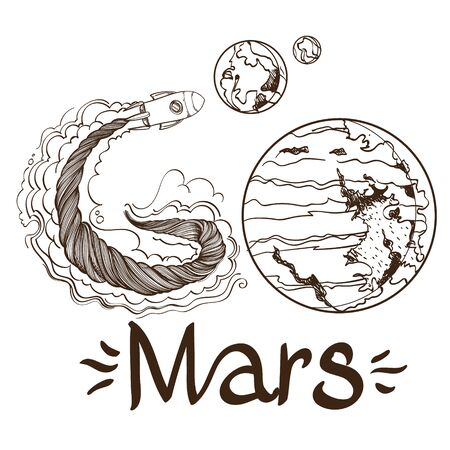 Conceptual illustration of the outline for coloring on the theme of space flight to Mars. Shattel and planets. Design for t-shirts, gifts, promotional leaflets and feature articles about space