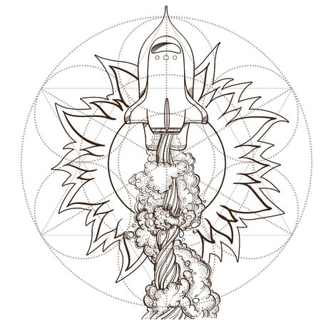 Conceptual illustration of the outline for coloring on the theme of space travel. Shattel and sun. Design for t-shirts, gifts, promotional leaflets and feature articles about space