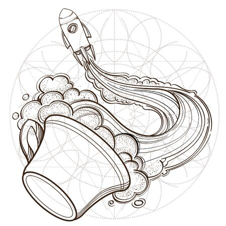 A sketch for the painting with the spacecraft and mug of coffee, tea or hot chocolate. Surrealistic illustration on the space theme design for t-shirts and various items and gifts