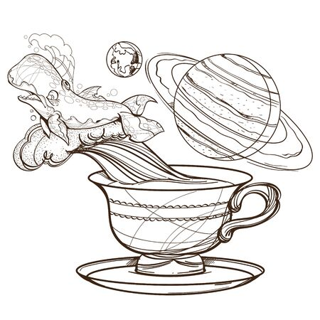 Motivating illustration with the phrase. Outline sketch for the painting with a mug of coffee, whale and planets. Picture for design of posters, T-shirts and a variety of gifts 矢量图像