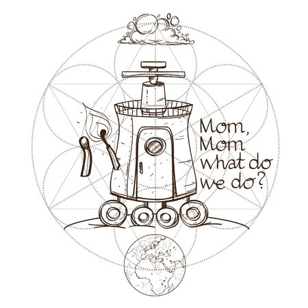 Sketch of the mechanism of fiction in the style of steampunk or Postapokaliptika. Imaginary space ship. Illustration for coloring