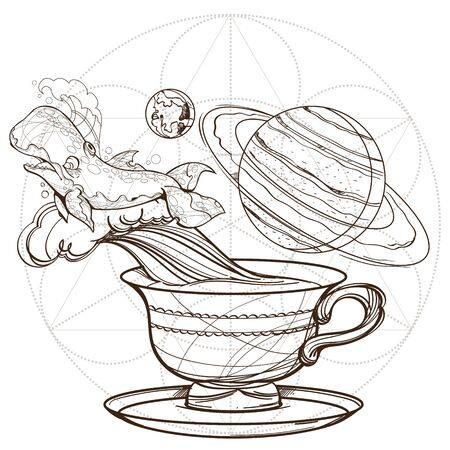 Motivating illustration with the phrase. Outline sketch for the painting with a mug of coffee, whale and planets. Picture for design of posters, T-shirts and a variety of gifts.