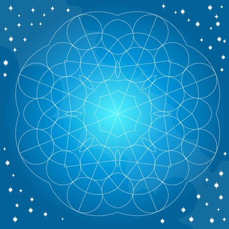 Blue background with abstract geometric pattern of circles. Template for a poster, cards, leaflets 矢量图像