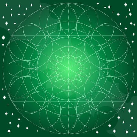 Emerald background with abstract geometric pattern of circles. Template for a poster, cards, leaflets