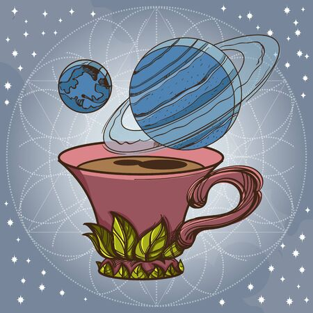 Motivating illustration with the phrase. Outline sketch for the painting with a mug of coffee and planets. Picture for design of posters, T-shirts and a variety of gifts 일러스트