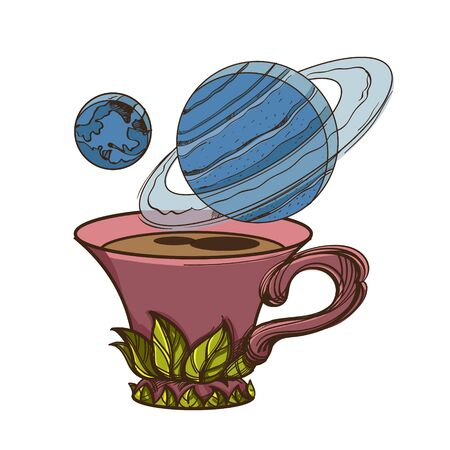 Motivating illustration with the phrase. Outline sketch for the painting with a mug of coffee and planets. Picture for design of posters, T-shirts and a variety of gifts 矢量图像