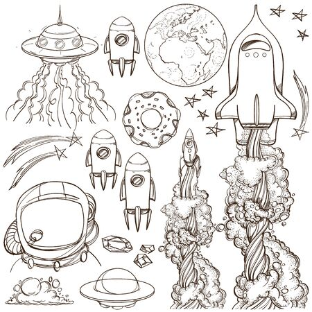 Set outline drawing with the spacecraft. Different types of shuttles and flying saucers. Illustration for coloring. 矢量图像