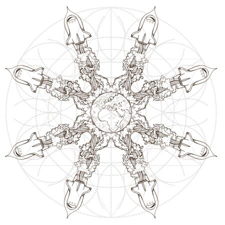 The symbolic star consisting of shuttles. Picture for coloring on the space theme.