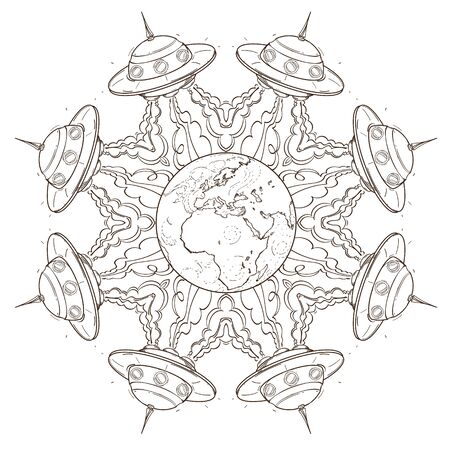 The symbolic star consisting of flying saucers. Picture for coloring on the space theme.