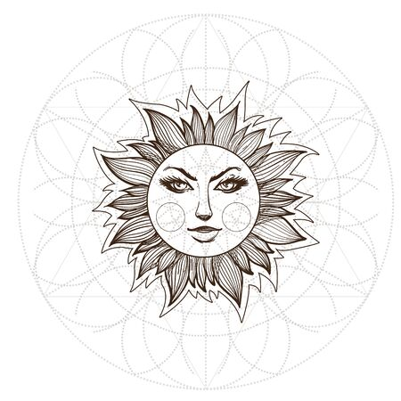 The stylized image of the sun with a face. Design for t-shirts, gifts, promotional leaflets and feature articles about space 矢量图像