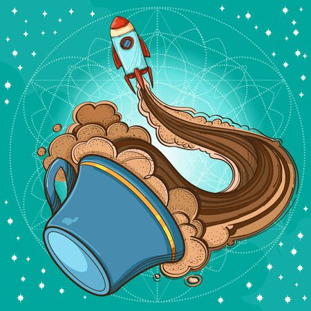 A sketch the spacecraft and mug of coffee, tea or hot chocolate. Surrealistic illustration on the space theme design for t-shirts and various items and gifts
