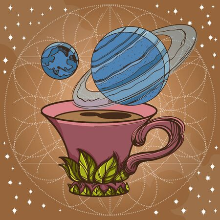 Motivating illustration with the phrase. Outline sketch for the painting with a mug of coffee and planets. Picture for design of posters, T-shirts and a variety of gifts.