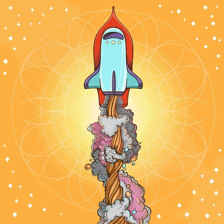 Conceptual illustration on the theme of space travel. Flying in the space shuttle. Design for t-shirts, gifts, promotional leaflets and feature articles about space.
