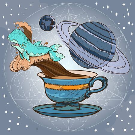 Motivating illustration with the phrase. Outline sketch for the painting with a mug of coffee, whale and planets. Picture for design of posters, T-shirts and a variety of gifts. 免版税图像 - 149812408