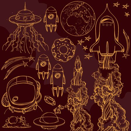 Set outline drawing with the spacecraft on burgundy background. Different types of shuttles and flying saucers. 矢量图像