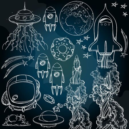 Set outline drawing with the spacecraft on a dark background. Different types of shuttles and flying saucers.