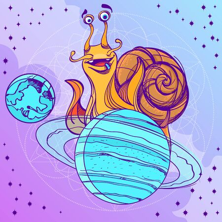 Cheerful snail on the planet Saturn. Funny illustration on the space theme on purple background. Design for t-shirts and items. 矢量图像